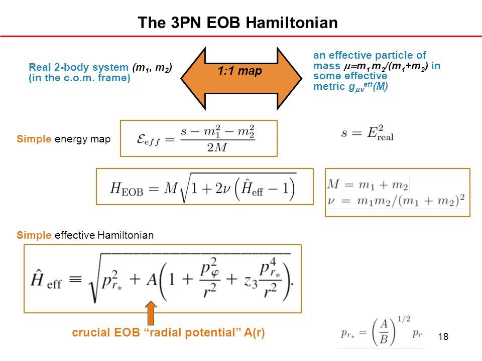 The 3PN EOB Hamiltonian 1:1 map crucial EOB radial potential A(r)
