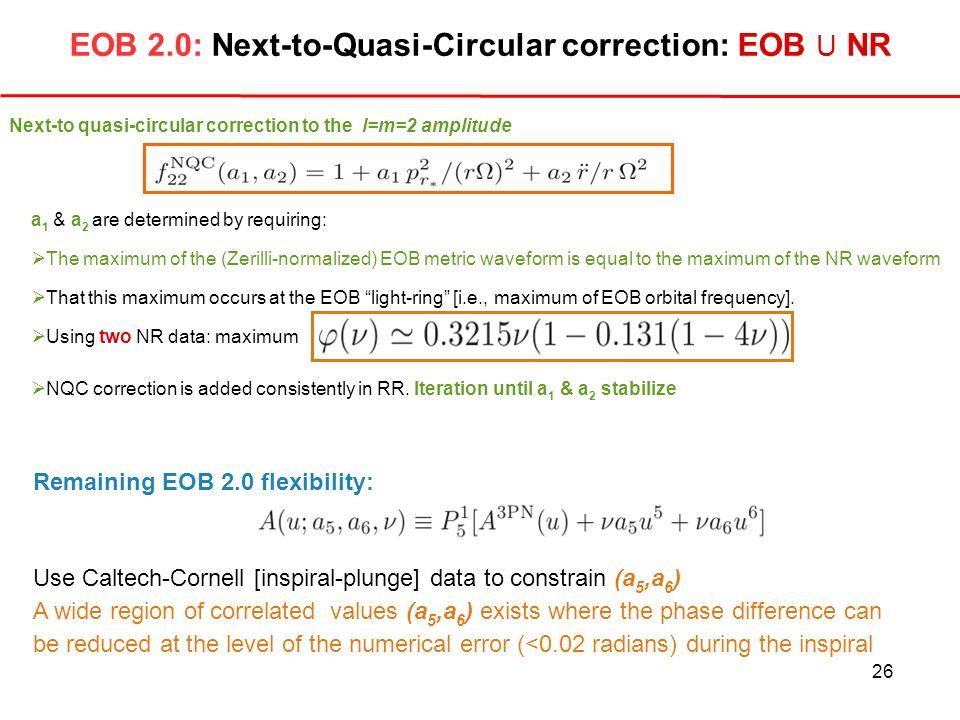 EOB 2.0: Next-to-Quasi-Circular correction: EOB U NR