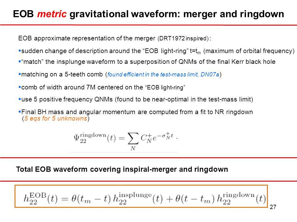 EOB metric gravitational waveform: merger and ringdown