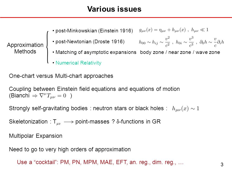 Various issues Approximation Methods