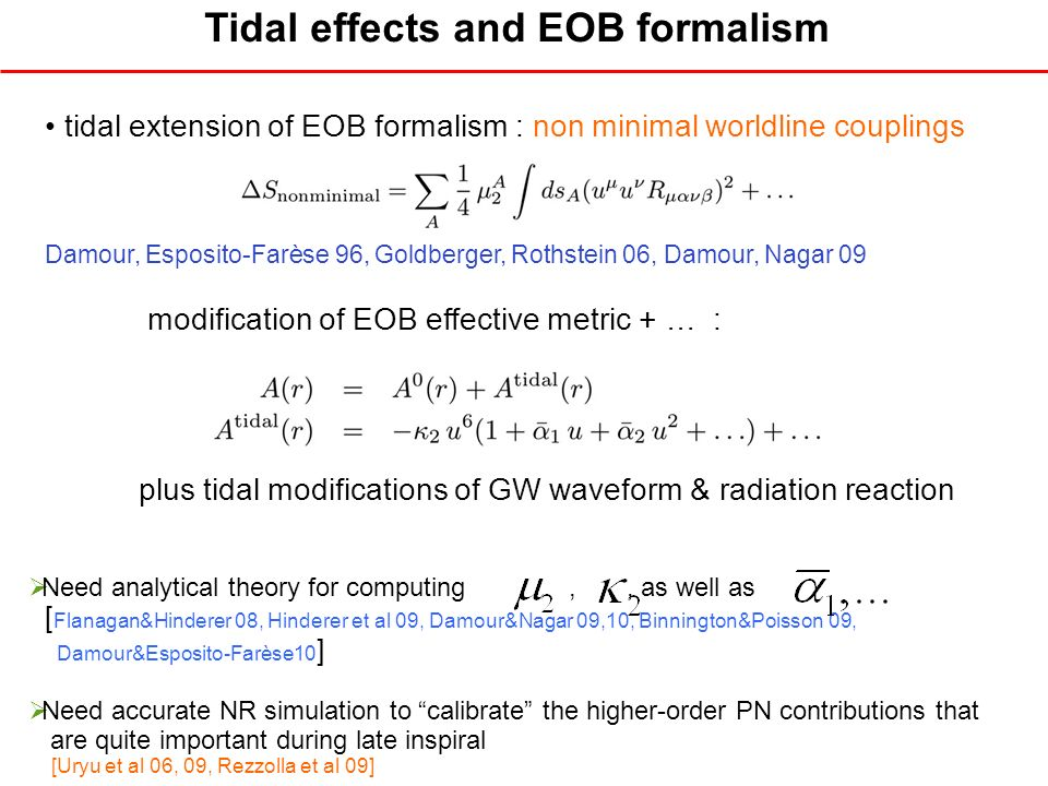 Tidal effects and EOB formalism