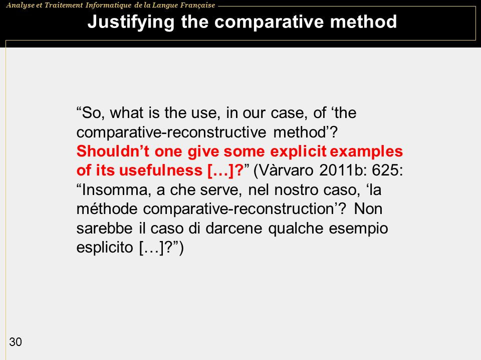 Justifying the comparative method