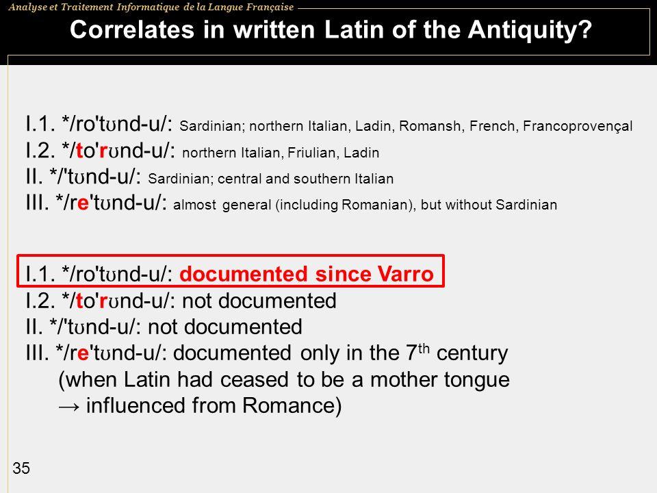 Correlates in written Latin of the Antiquity