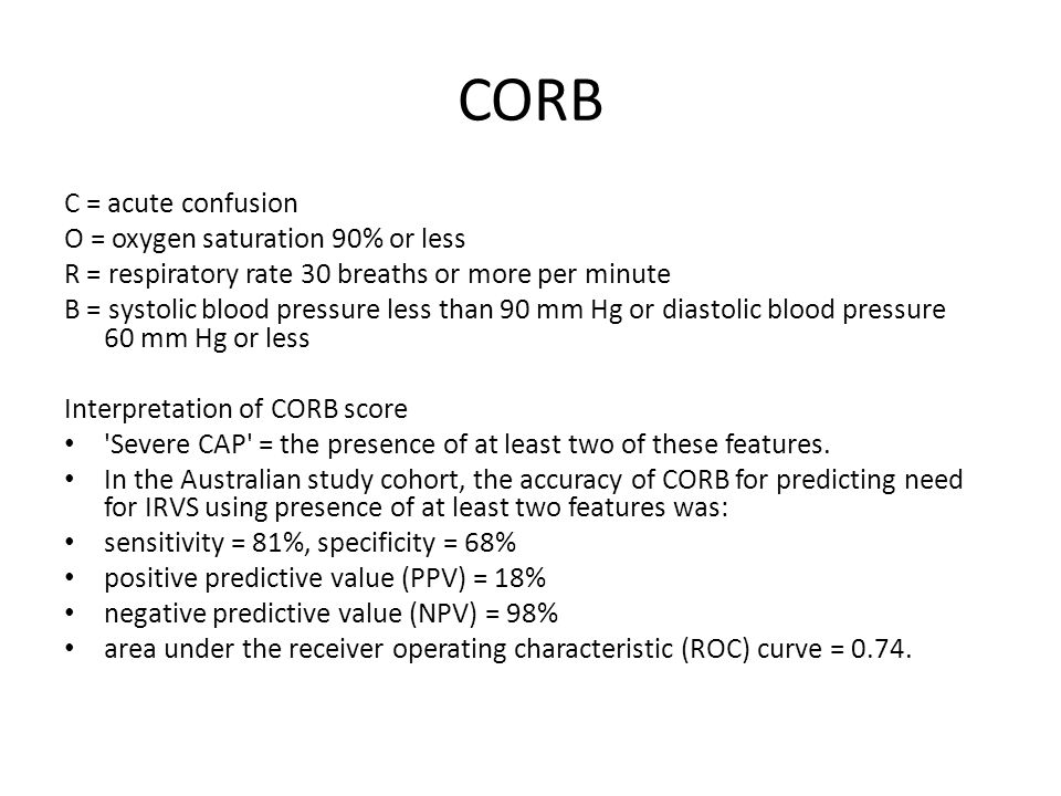 CORB C = acute confusion O = oxygen saturation 90% or less