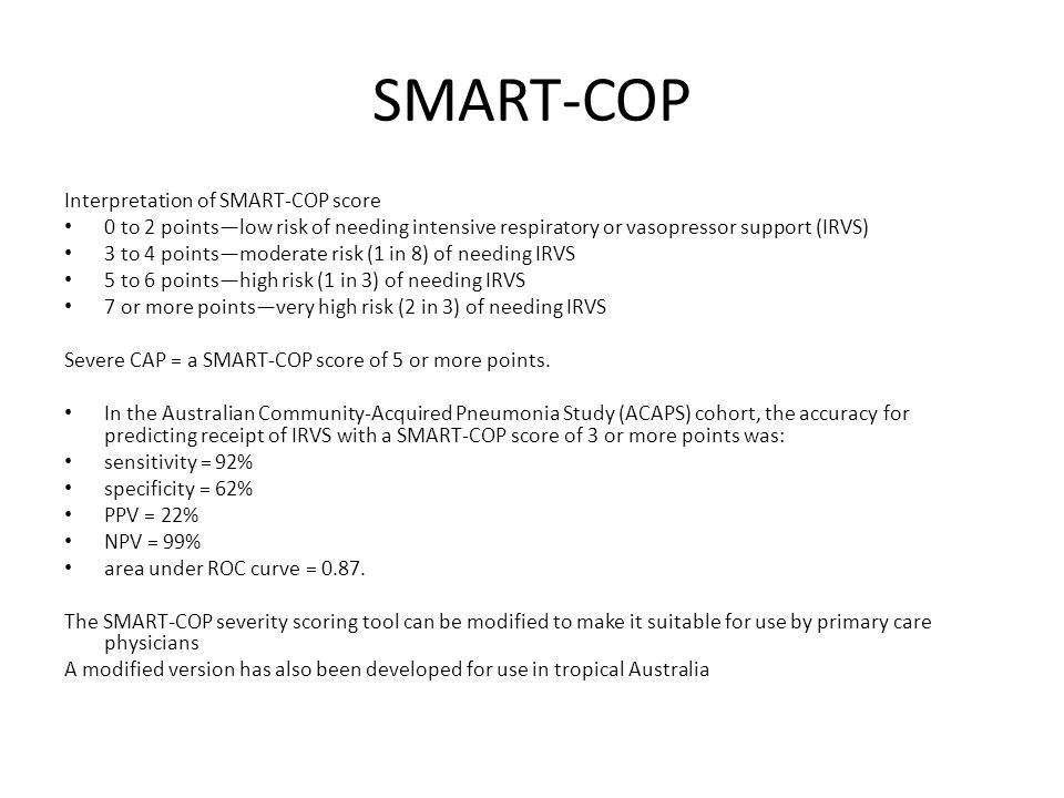 SMART-COP Interpretation of SMART-COP score