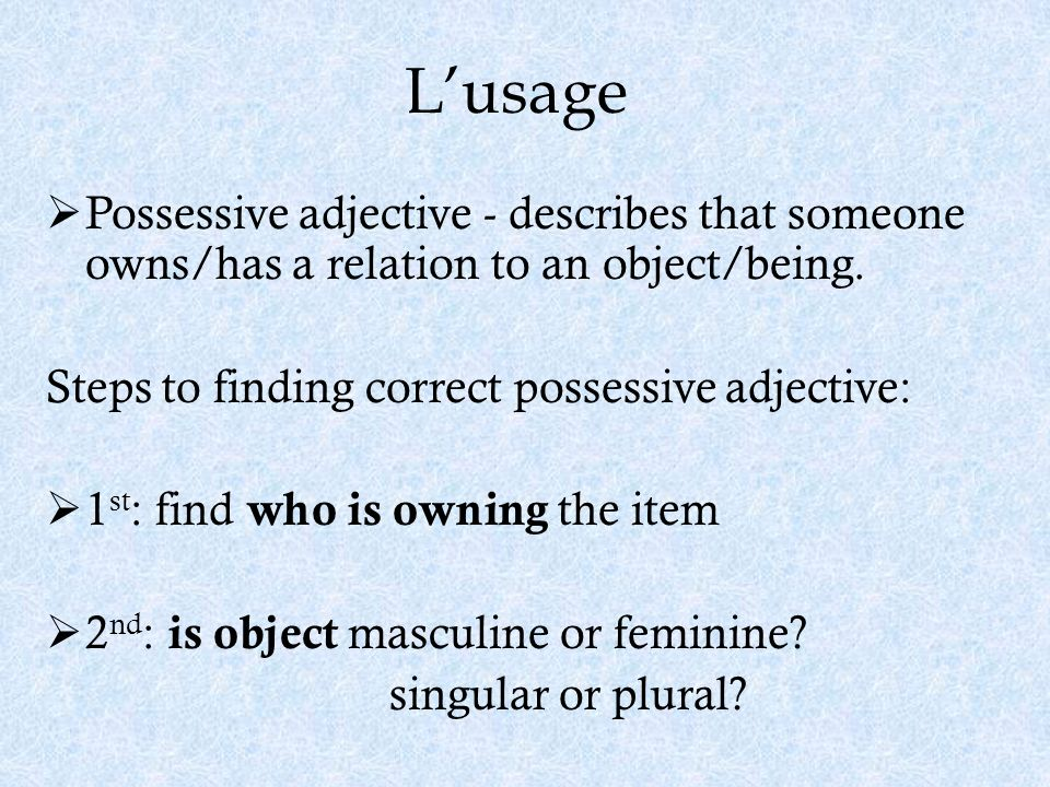 L'usage Possessive adjective - describes that someone owns/has a relation to an object/being. Steps to finding correct possessive adjective: