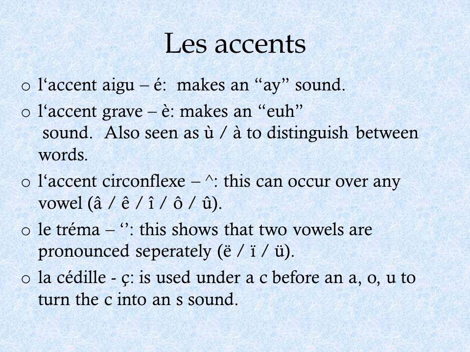 Les accents l'accent aigu – é: makes an ay sound.
