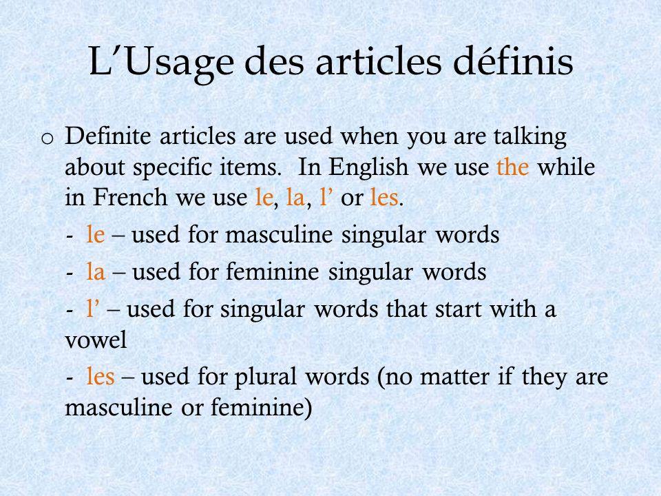 L'Usage des articles définis