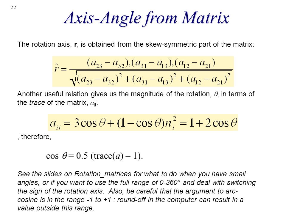 Axis-Angle from Matrix