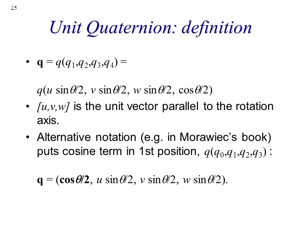 Unit Quaternion: definition