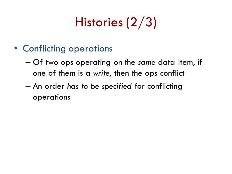 Histories (2/3) Conflicting operations