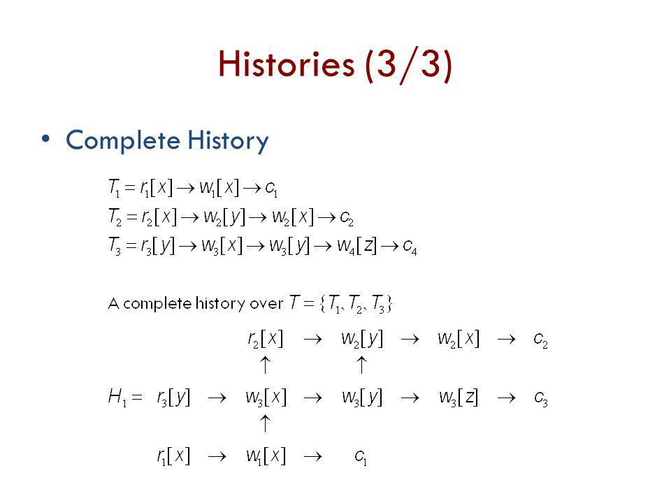Histories (3/3) Complete History