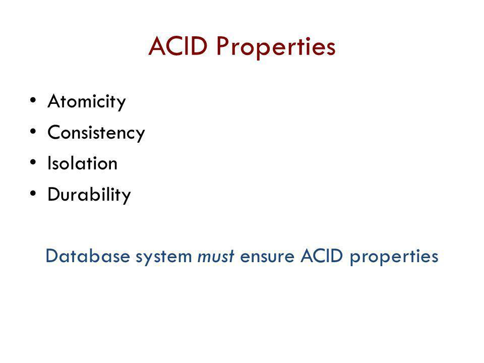 Database system must ensure ACID properties