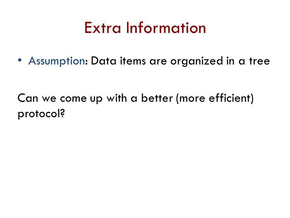 Extra Information Assumption: Data items are organized in a tree