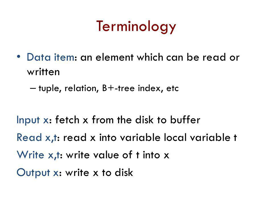 Terminology Data item: an element which can be read or written