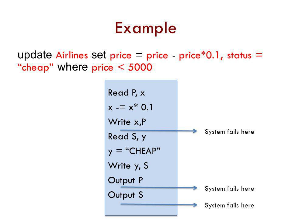 Example update Airlines set price = price - price*0.1, status = cheap where price < 5000. Read P, x.