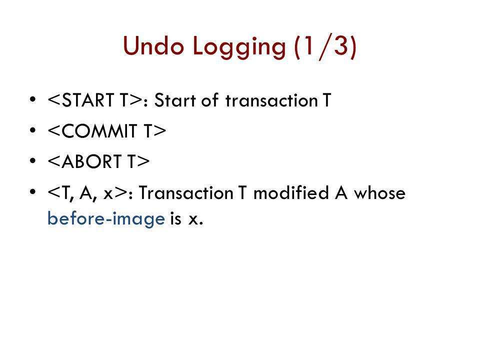 Undo Logging (1/3) <START T>: Start of transaction T