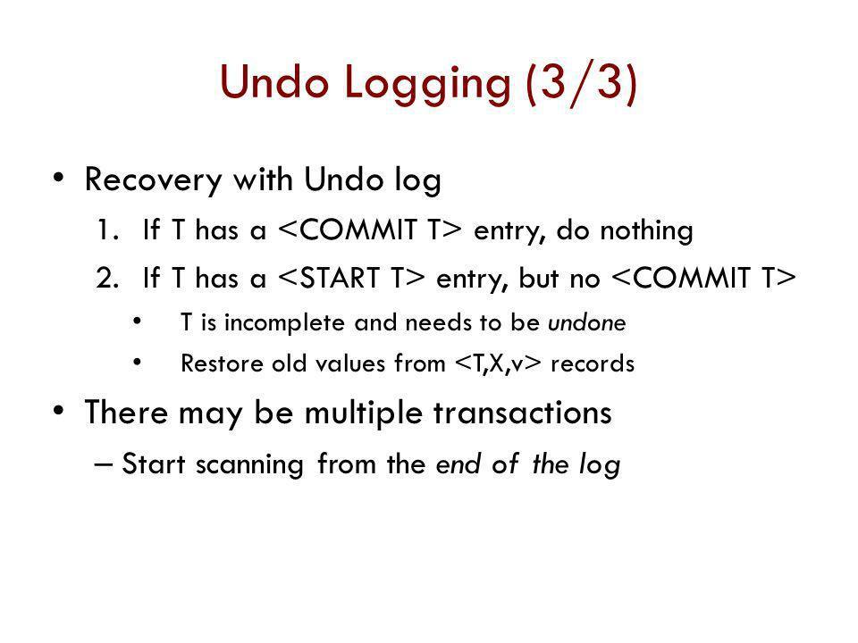 Undo Logging (3/3) Recovery with Undo log