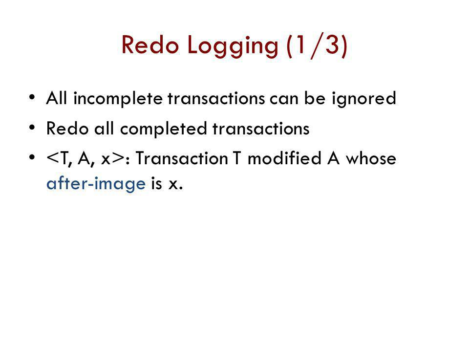 Redo Logging (1/3) All incomplete transactions can be ignored
