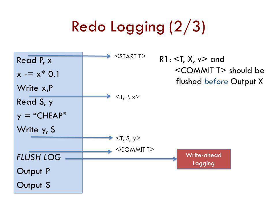 Redo Logging (2/3) Read P, x x -= x* 0.1 Write x,P Read S, y