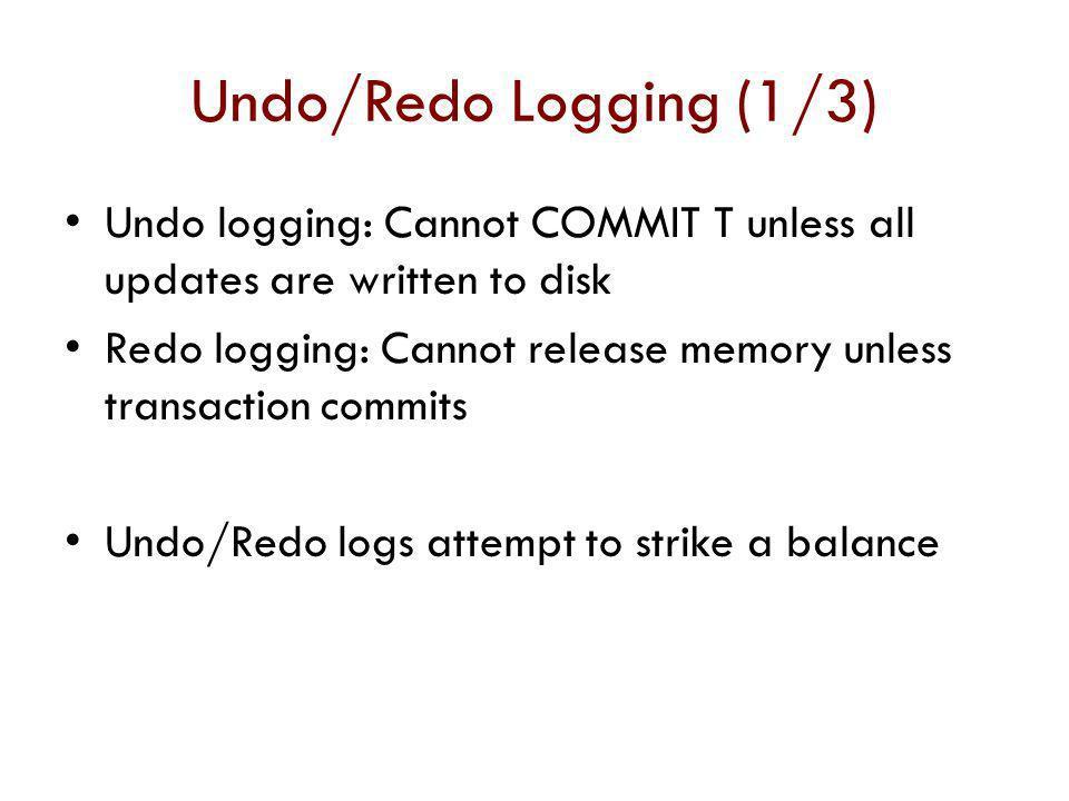 Undo/Redo Logging (1/3) Undo logging: Cannot COMMIT T unless all updates are written to disk.