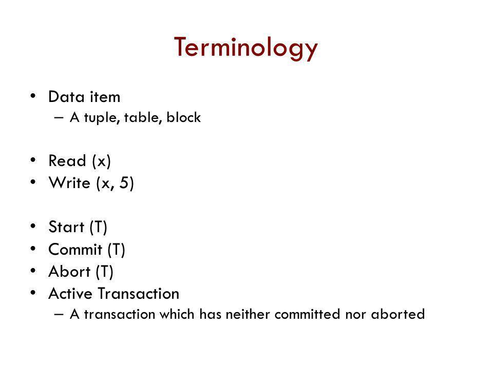 Terminology Data item Read (x) Write (x, 5) Start (T) Commit (T)