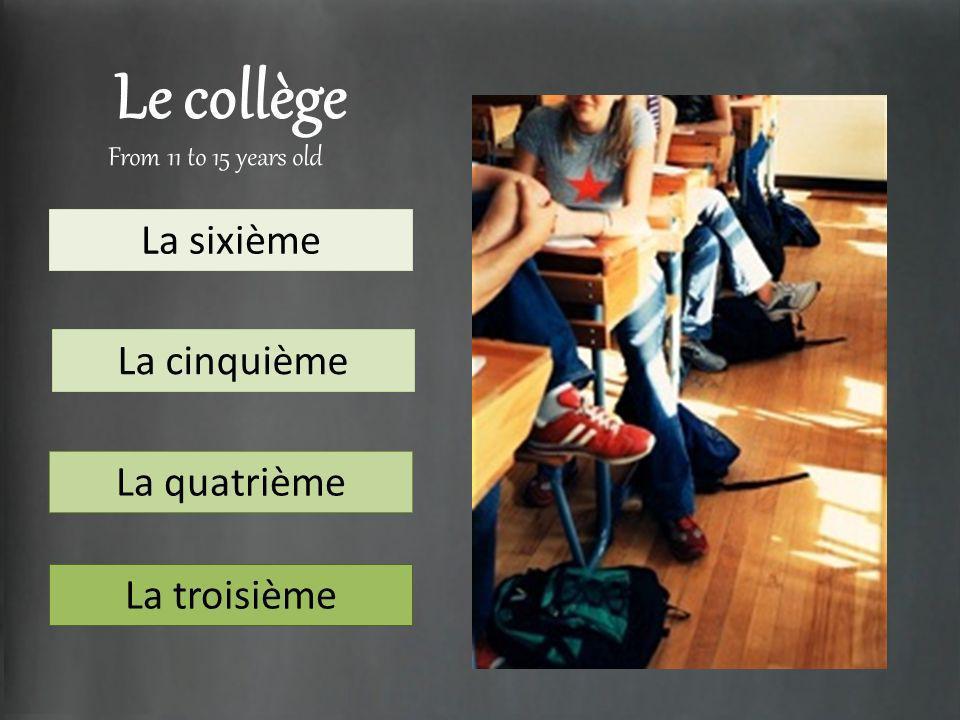 Le collège La sixième La cinquième La quatrième La troisième