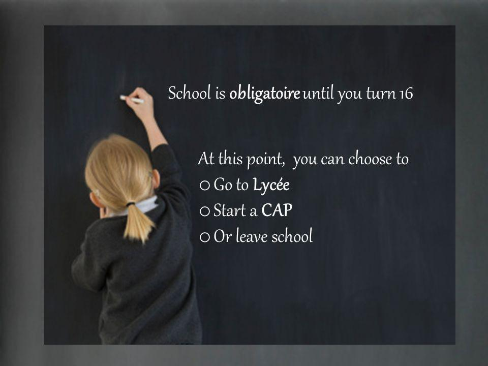 School is obligatoire until you turn 16