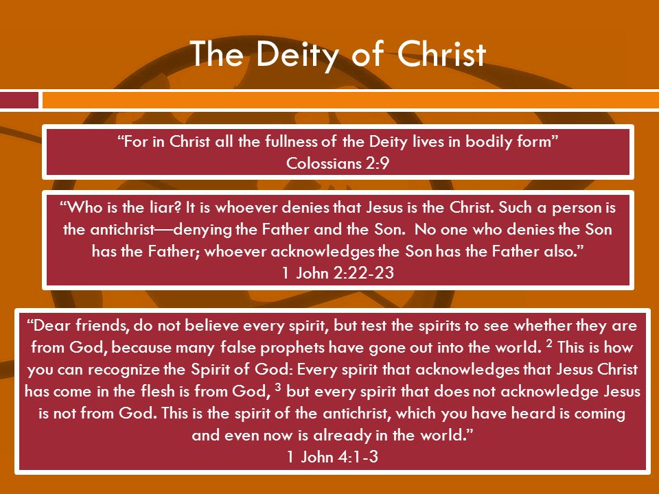 For in Christ all the fullness of the Deity lives in bodily form