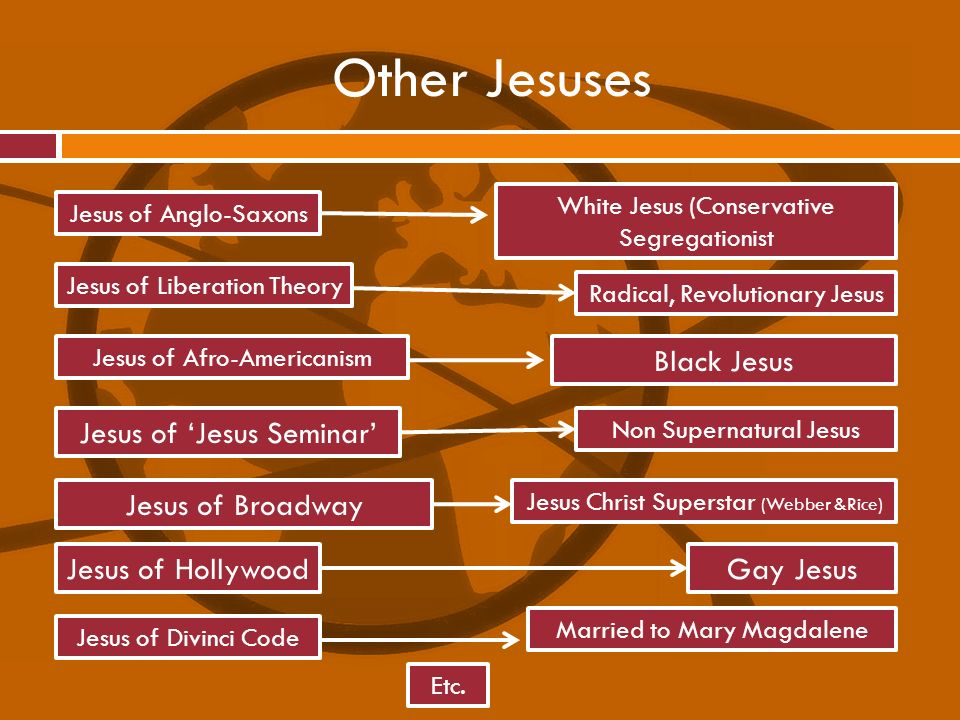 Other Jesuses Black Jesus Jesus of 'Jesus Seminar' Jesus of Broadway