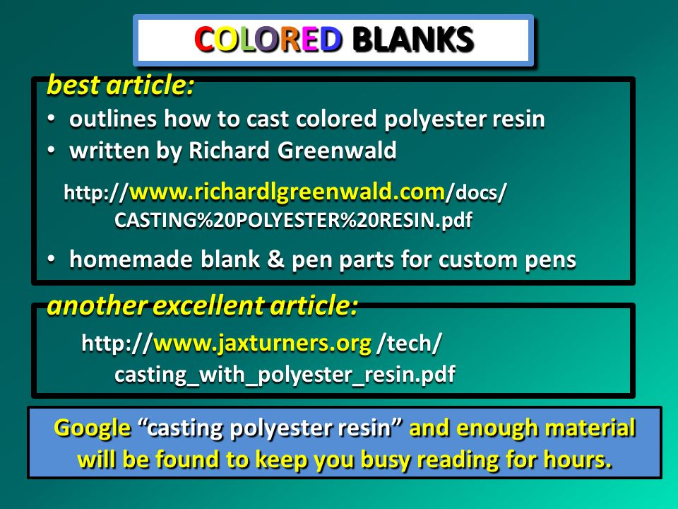 COLORED BLANKS best article: