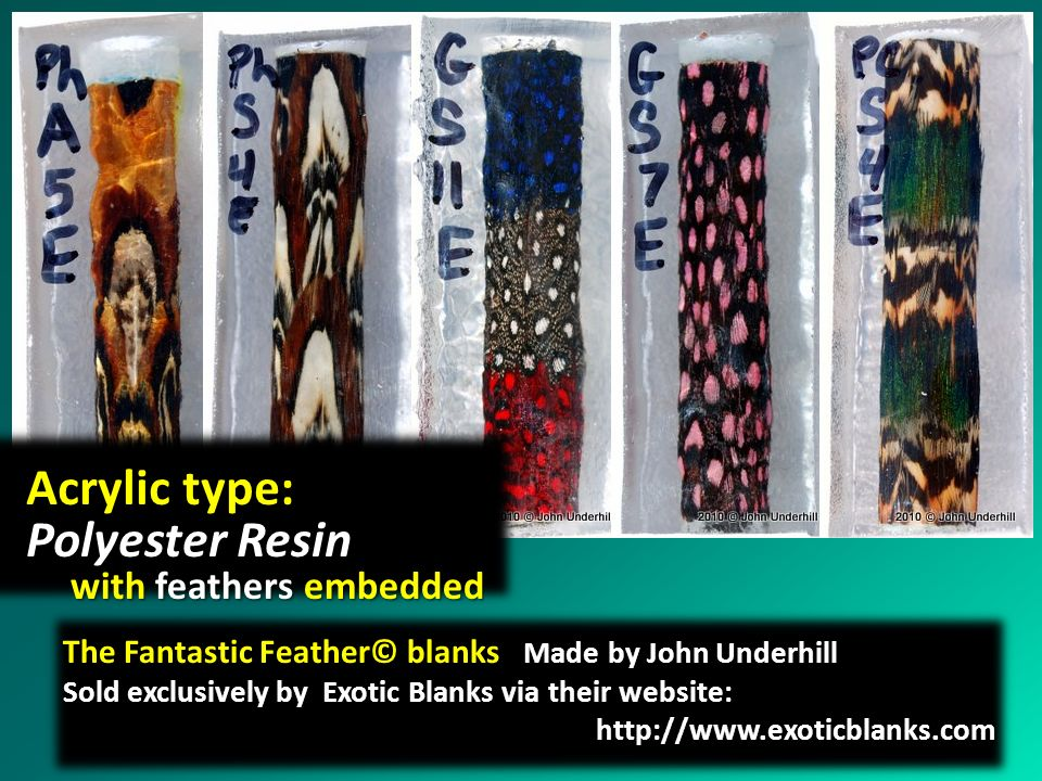 Acrylic type: Polyester Resin with feathers embedded