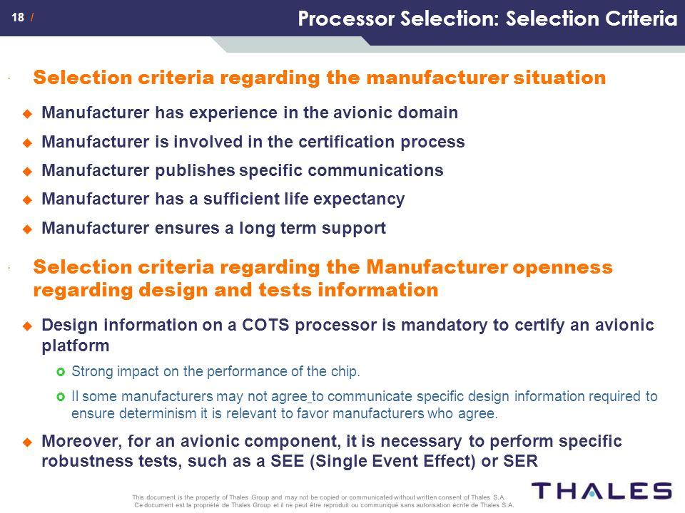 Processor Selection: Selection Criteria
