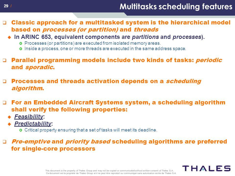 Multitasks scheduling features
