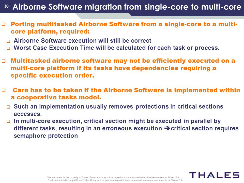Airborne Software migration from single-core to multi-core
