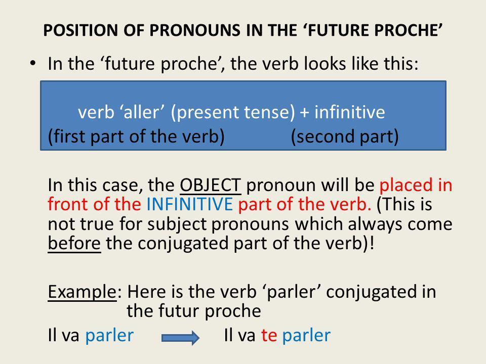 POSITION OF PRONOUNS IN THE 'FUTURE PROCHE'