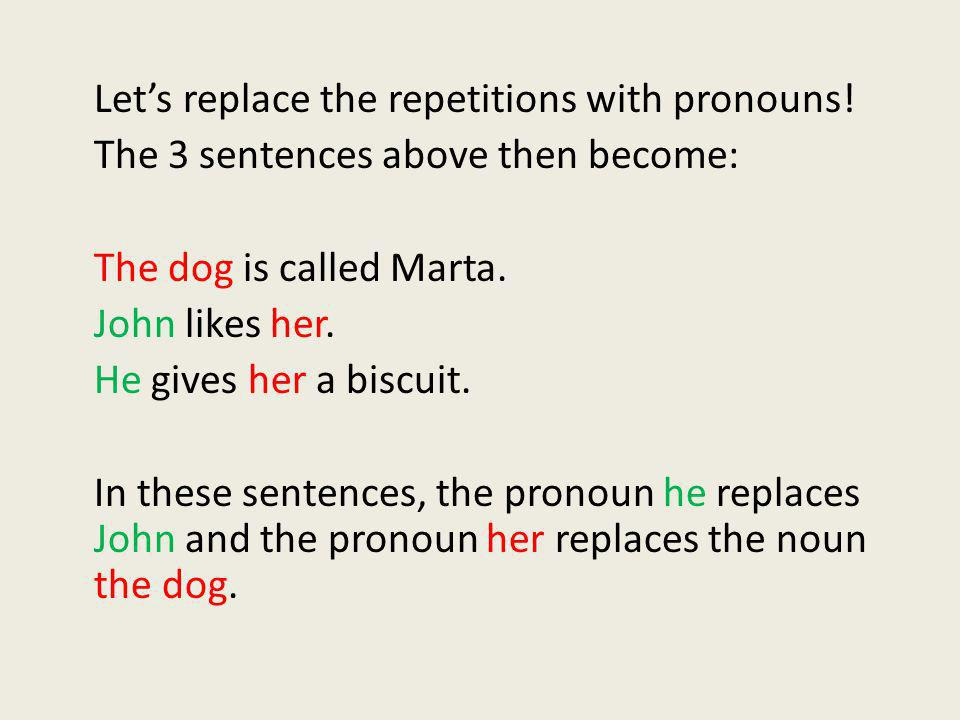 Let's replace the repetitions with pronouns!