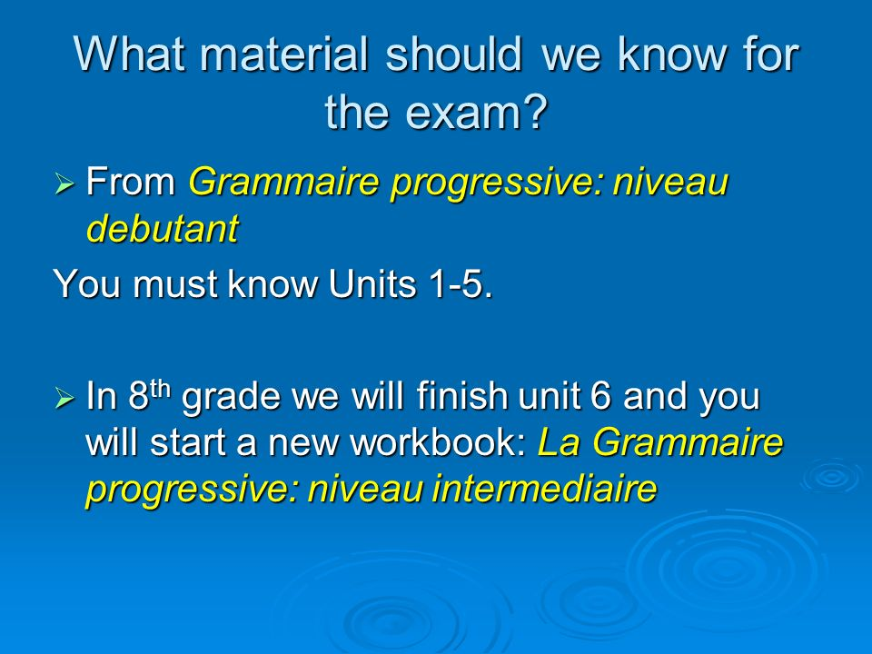 What material should we know for the exam