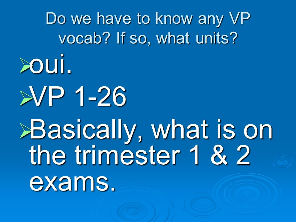 Do we have to know any VP vocab If so, what units