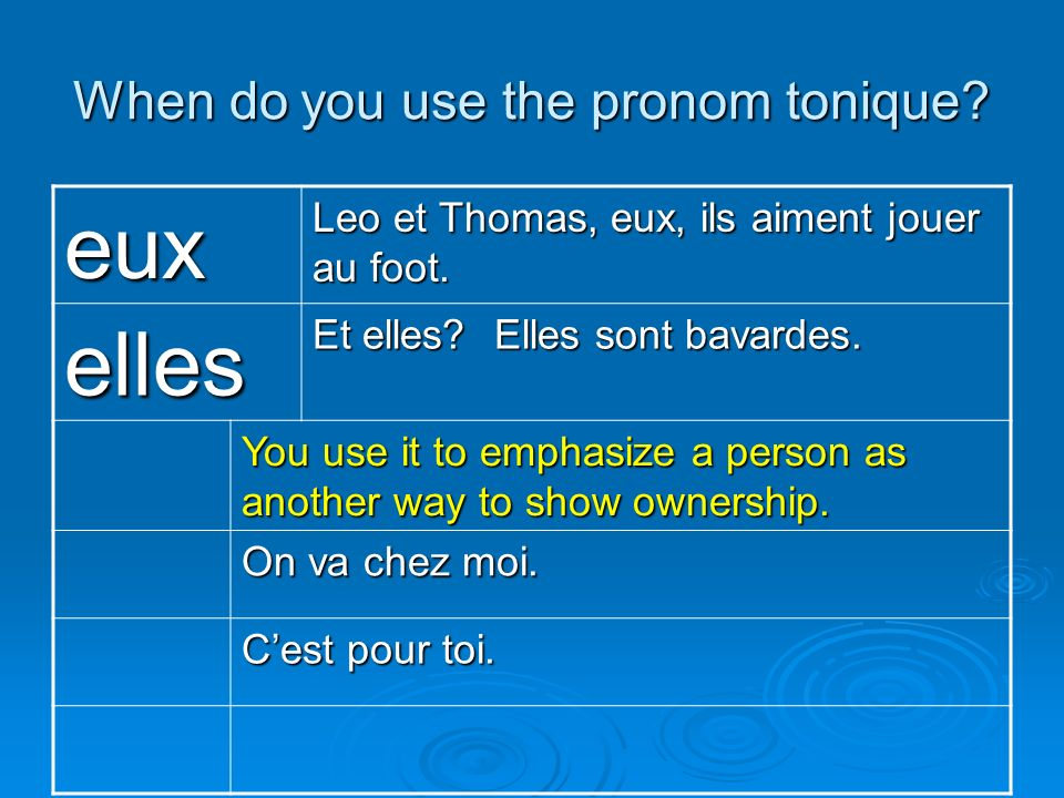When do you use the pronom tonique