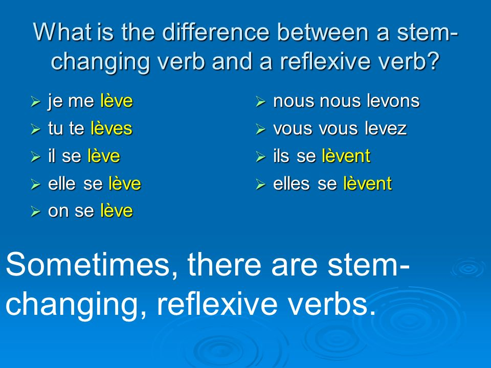 Sometimes, there are stem-changing, reflexive verbs.
