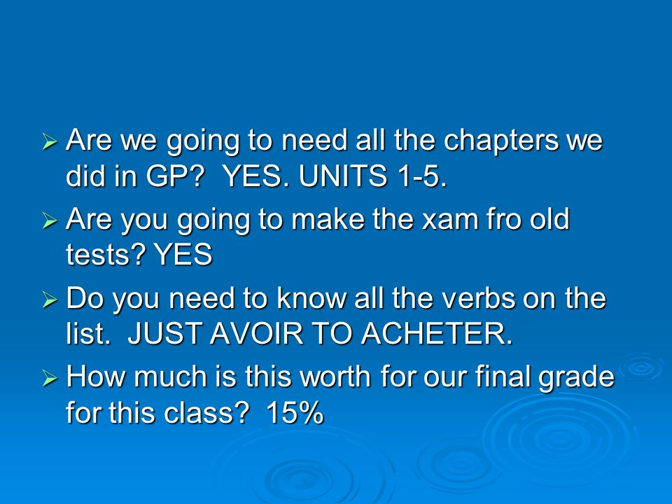 Are we going to need all the chapters we did in GP YES. UNITS 1-5.