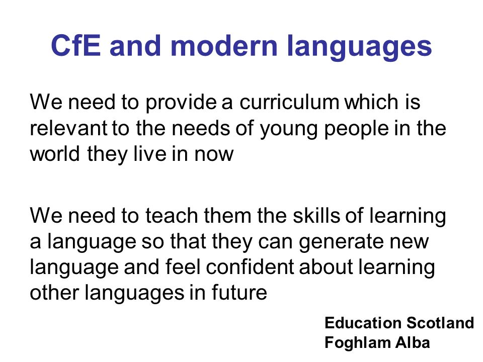 CfE and modern languages