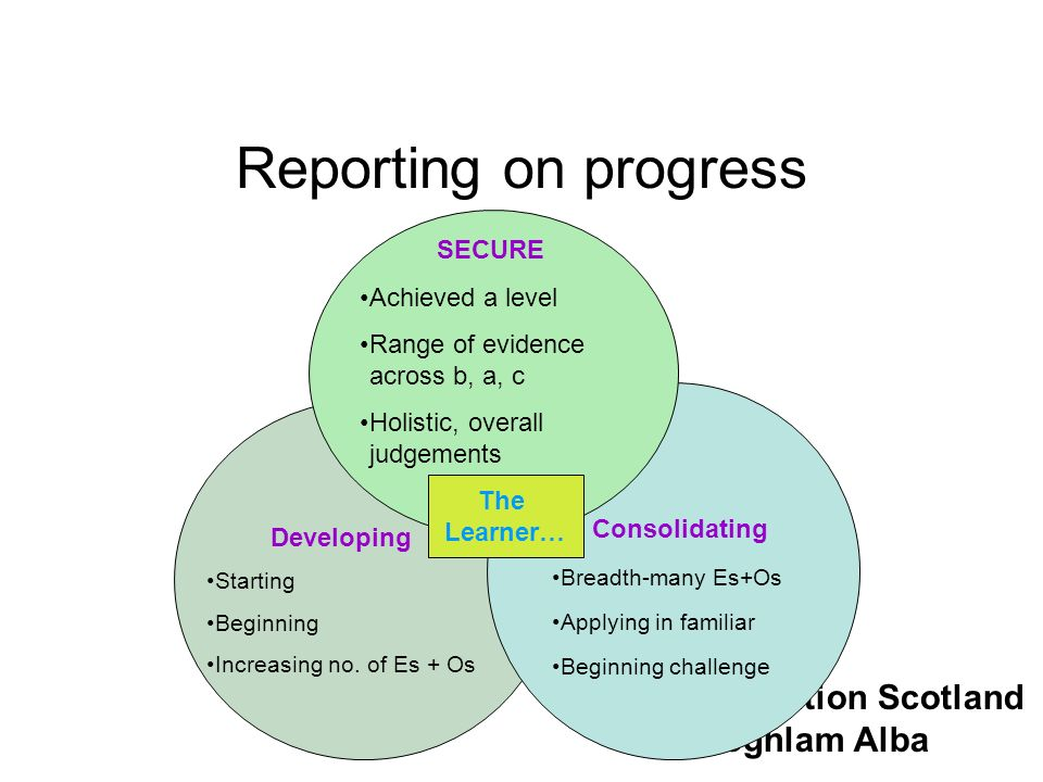 Reporting on progress SECURE Achieved a level