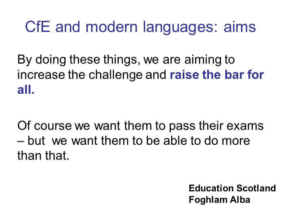 CfE and modern languages: aims