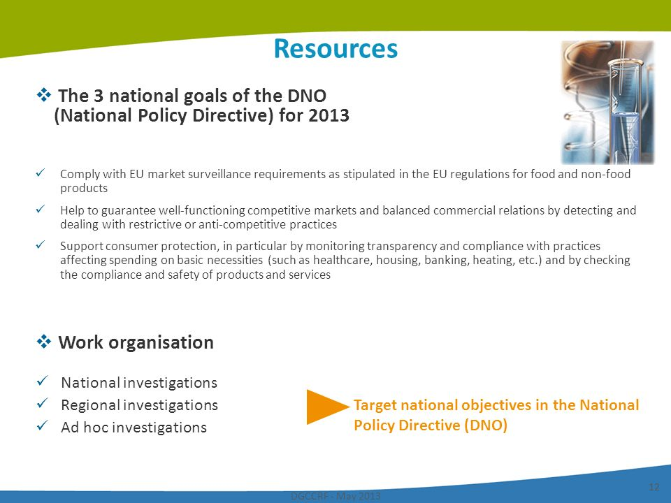 Resources The 3 national goals of the DNO (National Policy Directive) for 2013.