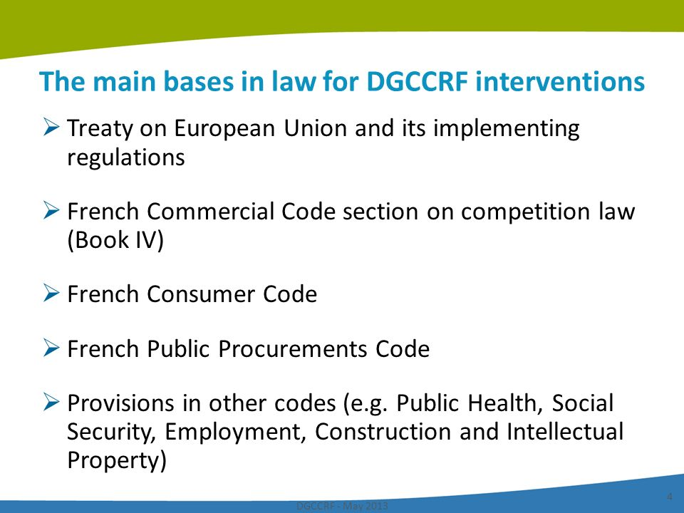 The main bases in law for DGCCRF interventions