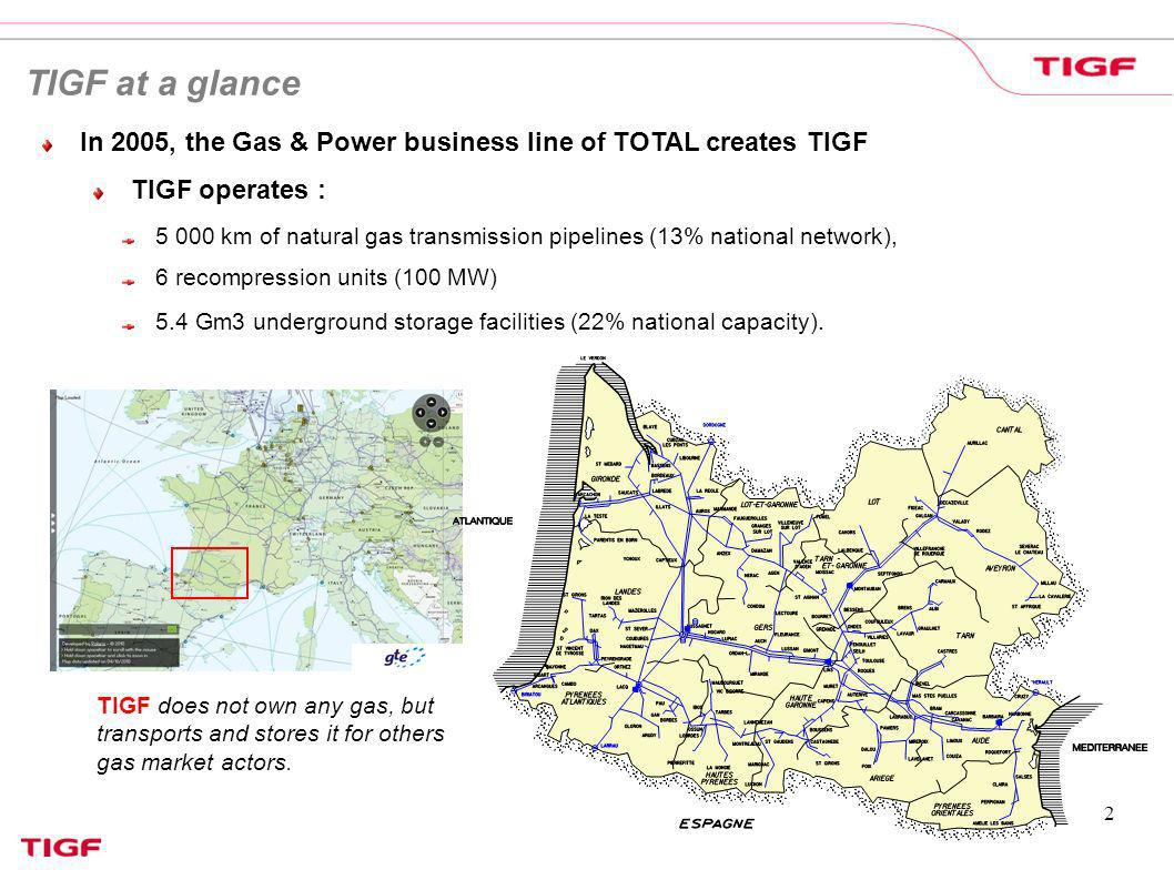 TIGF at a glance In 2005, the Gas & Power business line of TOTAL creates TIGF. TIGF operates :