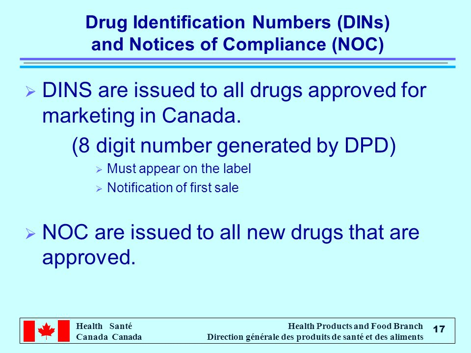 Drug Identification Numbers (DINs) and Notices of Compliance (NOC)