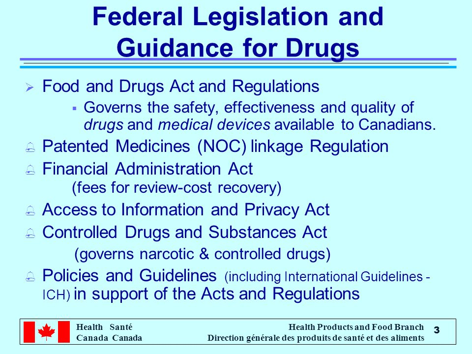 Federal Legislation and Guidance for Drugs
